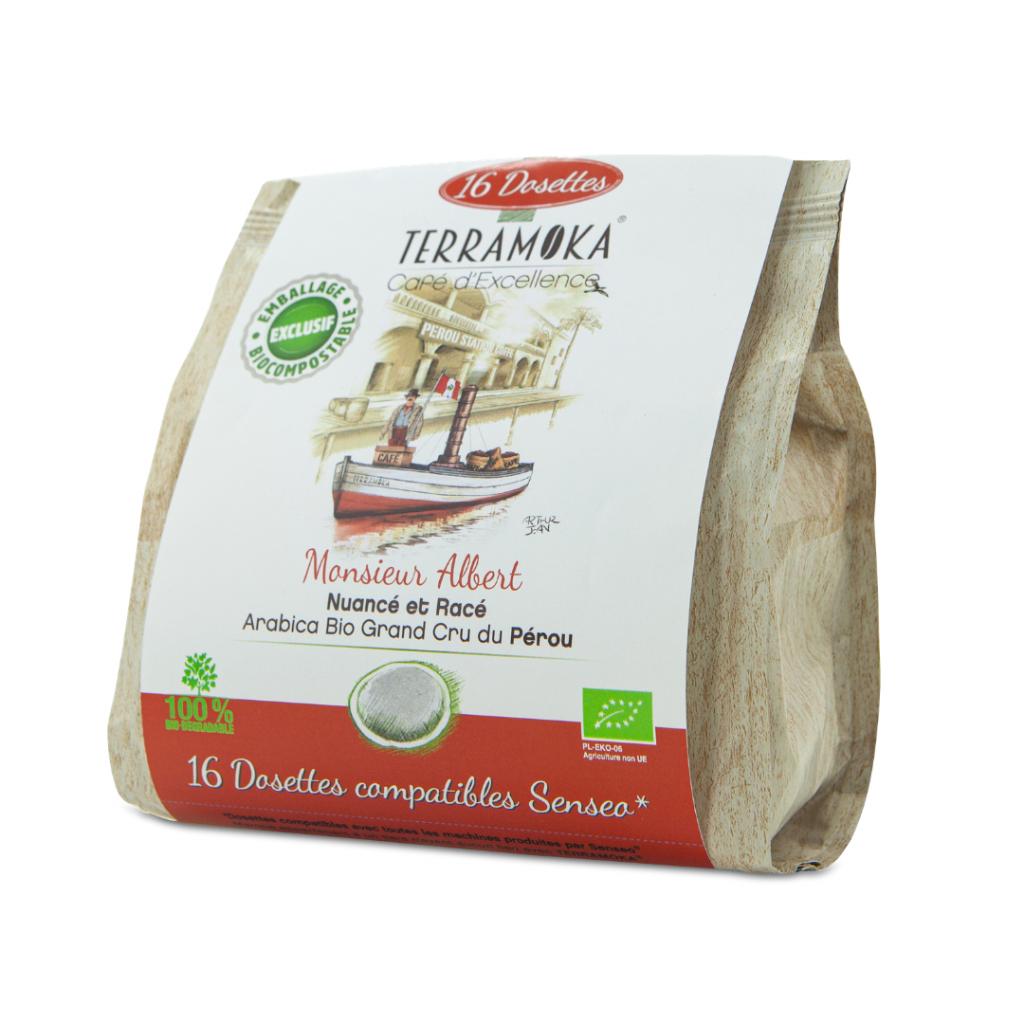 TERRAMOKA Albert - 16 dosettes biodégradables type Senseo® - 100% Arabica...