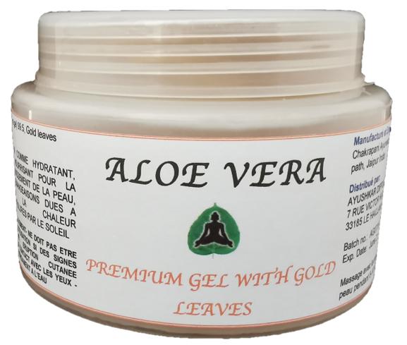 Ayushkar Diffusion Aloe Vera Premium Gel, feuilles d'or, 100% naturel - 100G