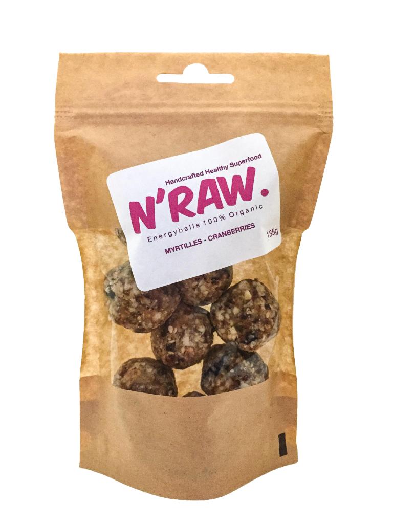 N'raw Energyballs Myrtilles - Cranberries 140g
