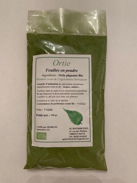 Sg Distribution Feuilles d'ortie en poudre 100 g