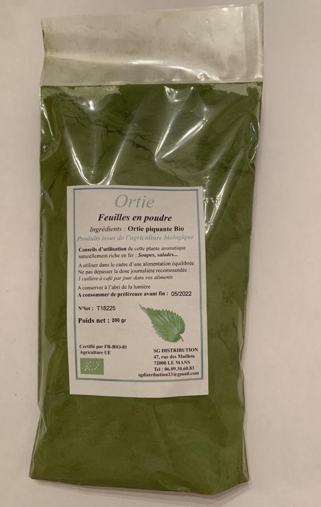 Sg Distribution Feuilles d'ortie en poudre 200 g