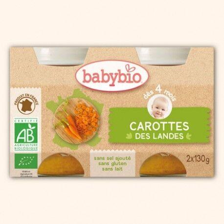 BABYBIO Petits Pots Carotte des Landes - 2 x 130g - Babybio