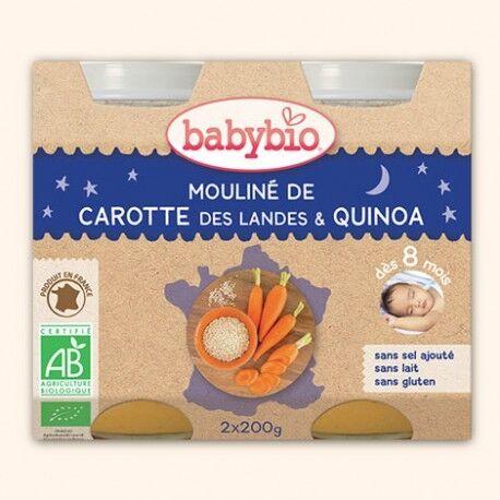 BABYBIO Mouliné de Carottes des Landes et Quinoa Bio - 2 x 200g - Babybio