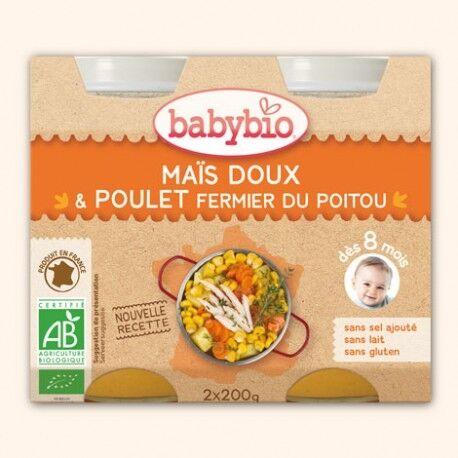 BABYBIO Mais Doux & Poulet Fermier du Poitou - 2 x 200g - Babybio