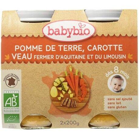 BABYBIO Pomme de Terre, Carotte et Veau Fermier d'Aquitaine - 2x200g - Babybio