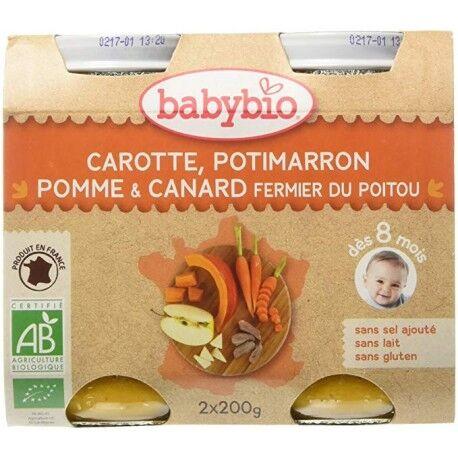 BABYBIO Carotte, Potimarron, Pomme et Canard Fermier du Poitou - 2x200g -...