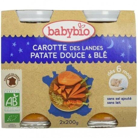 BABYBIO Carotte des Landes, Patate Douce et Blé - 2x200g - Babybio
