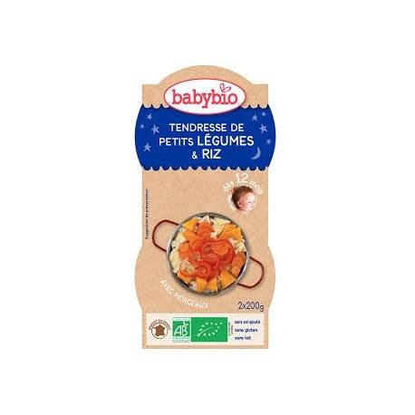 BABYBIO Tendresse de Petits Légumes, Riz - 2x200gr - Babybio