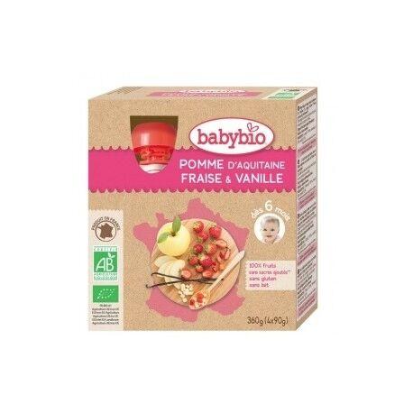 BABYBIO Gourdes Pomme d'Aquitaine, Fraise et Vanille - 4x90gr - Babybio