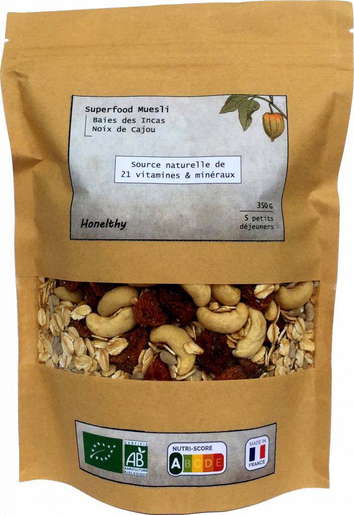 Honelthy Superfood Muesli - Baies des Incas & Noix de Cajou