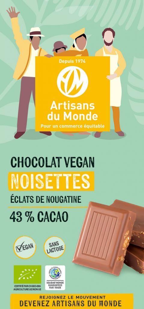 Artisans Du Monde Chocolat vegan bio aux noisettes - 100g