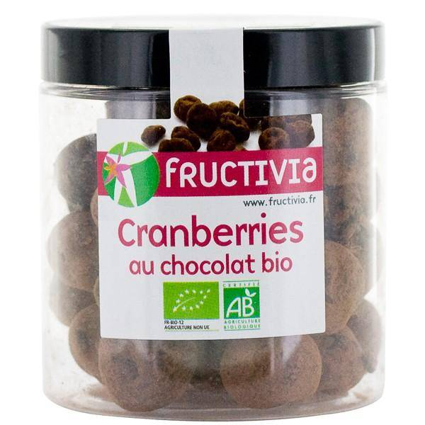 FRUCTIVIA Cranberries séchées Bio au chocolat - 100 g - Fructivia