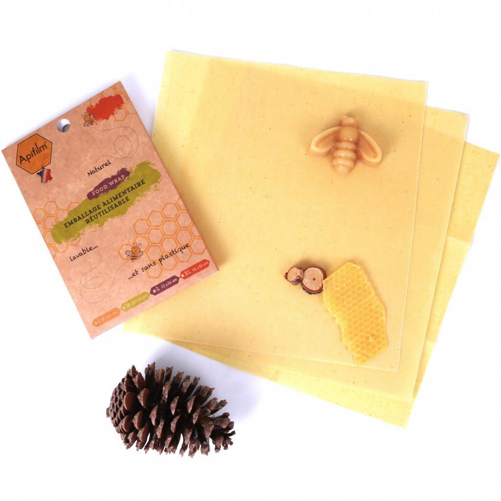 Fee Natura Beewrap en coton GOTS à la cire d'abeille - lot de 3 taille M -...