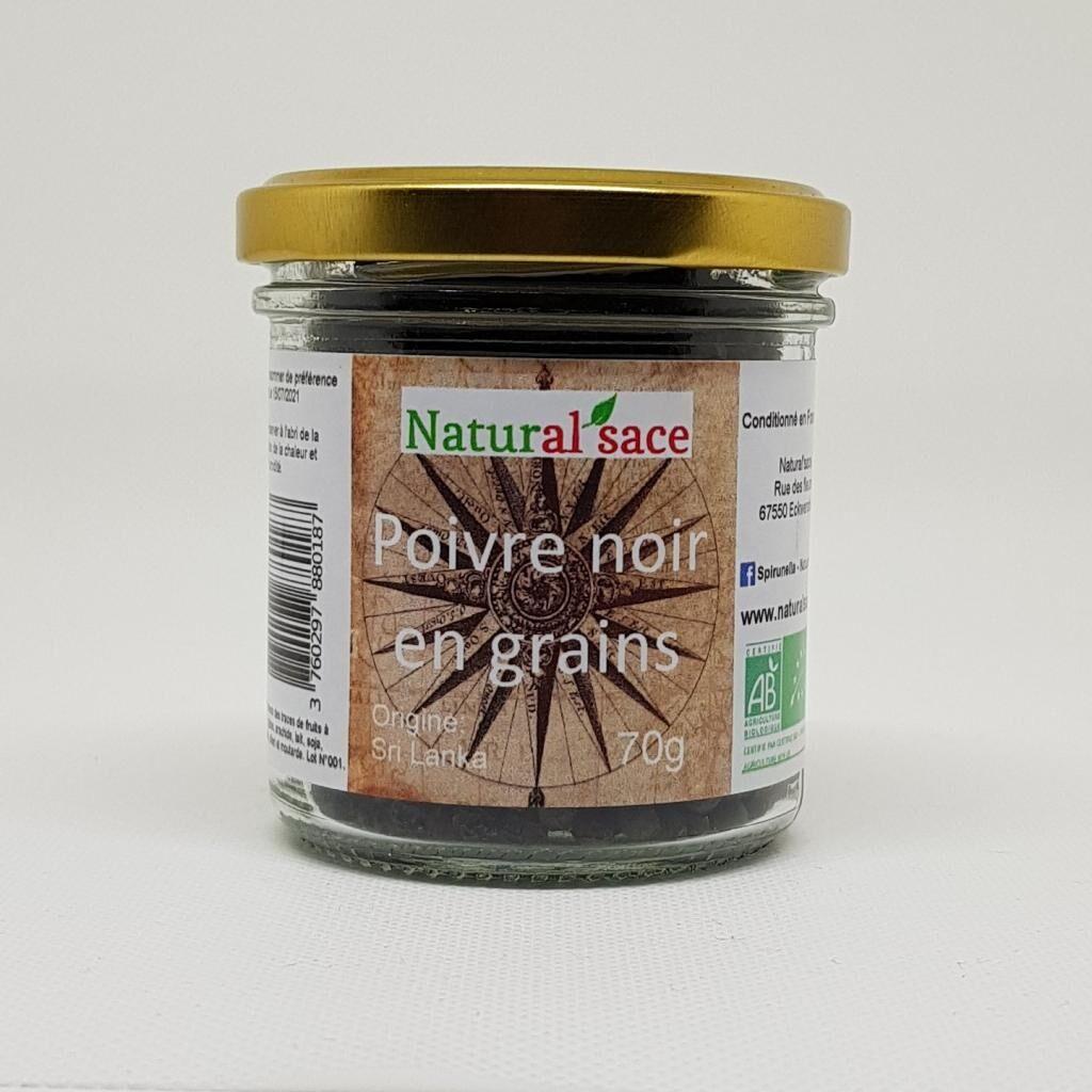 Natural'sace Poivre noir en grains bio - 70g
