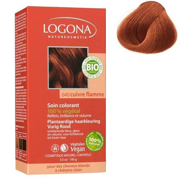 LOGONA Soin colorant Bio 100 % Végétal - Cuivre Flamme - 100 gr - Logona
