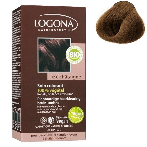 LOGONA Soin colorant Bio 100 % Végétal - Châtaigne - 100 gr - Logona
