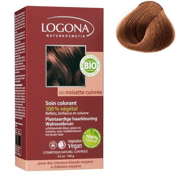 LOGONA Soin colorant Bio 100 % Végétal - Noisette cuivrée - 100 gr -...