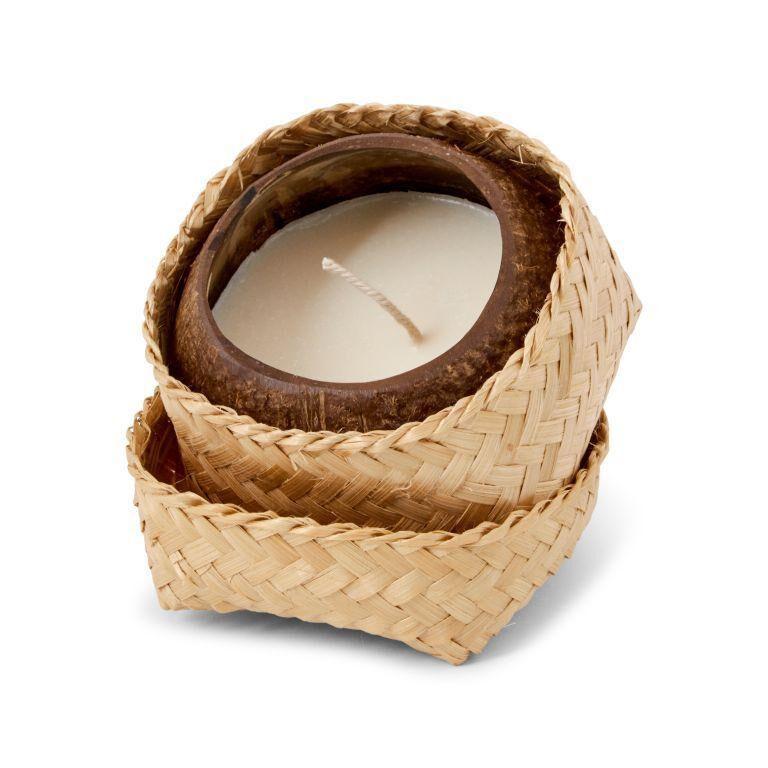 Panda Bougie naturelle noix de coco et boîte en feuille de bambou