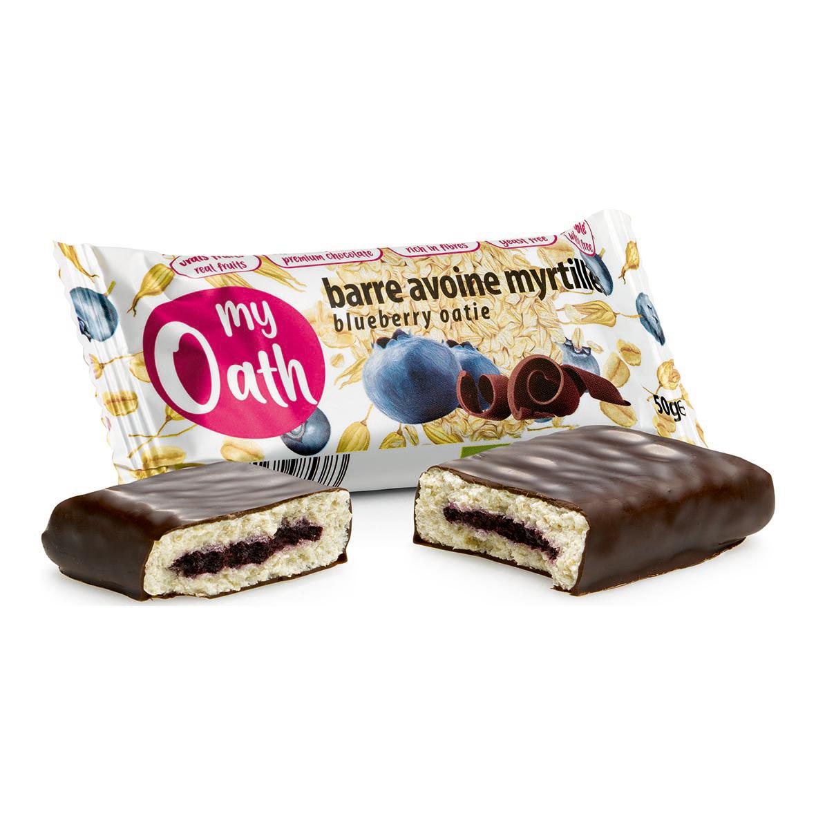 Lechoppebio Barre Avoine-Myrtille enrobée de chocolat Bio 50g - My Oath