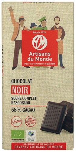 Artisans Du Monde Chocolat noir équitable et bio 58% - 100gr