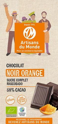 Artisans Du Monde Chocolat noir équitable et bio à l'orange - 100gr