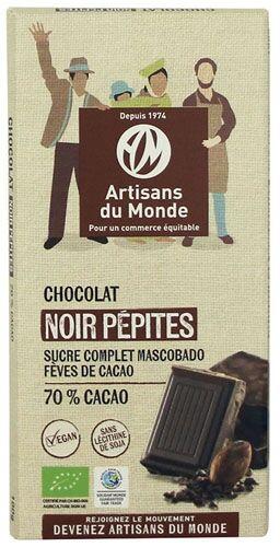 Artisans Du Monde Chocolat noir équitable et bio pépites - 100g