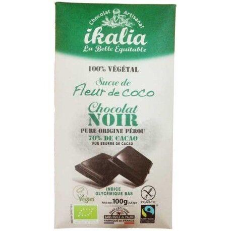 IKALIA Chocolat Noir 70% Cacao 100% Végétal - 100g - Ikalia