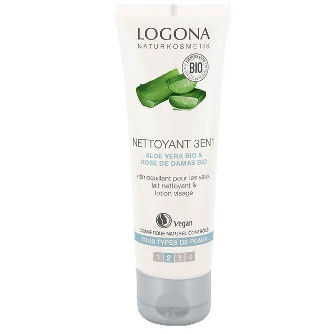 LOGONA - Nettoyant 3 en 1 bio Visage Aloe vera - Tous types de...