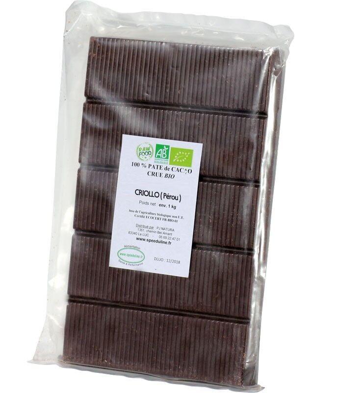 Speeduline Pj Natura Bloc pâte de cacao CRU Bio 100% de 900 gr