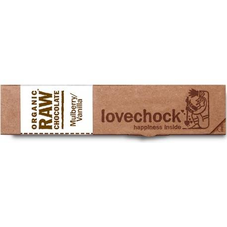 LOVECHOCK Barre de Chocolat Cru / Mûre Blanche - Vanille - 40g - Lovechock