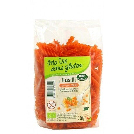 MA VIE SANS GLUTEN Fusilli lentilles corail Sans Gluten 250g - Ma Vie Sans Gluten