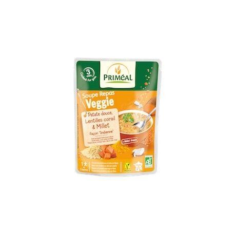 PRIMÉAL Soupe Repas Veggie Patate Douce, Lentilles Corail & Millet Bio -...