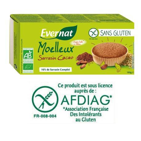 EVERNAT Moelleux Sarrasin Cacao Sans Gluten 180g-Evernat