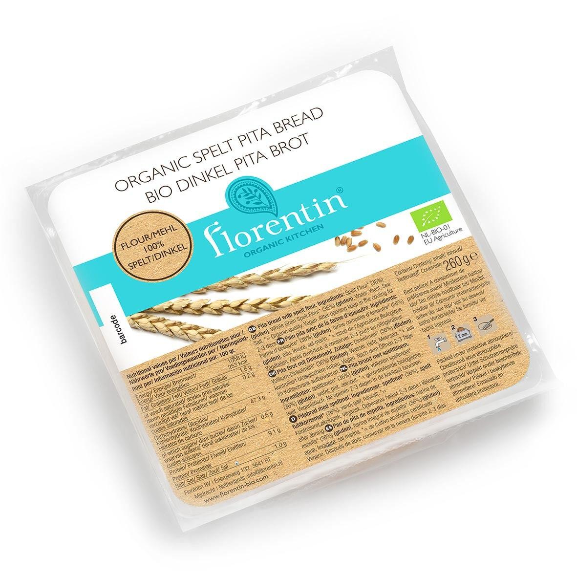 Lechoppebio Pain Pita Epeautre Bio 260g (sachet de 4 pains) - Florentin