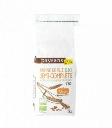 PAYSANS D'ICI Farine de blé semi complète T80 bio & équitable