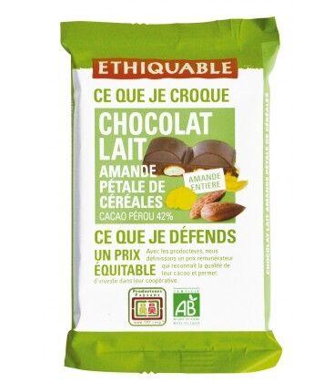 ETHIQUABLE Carré à croquer au chocolat au lait 42% amande...