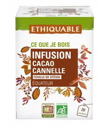 ETHIQUABLE Infusion Cacao, Canelle et feuille de Stévia bio & équitable