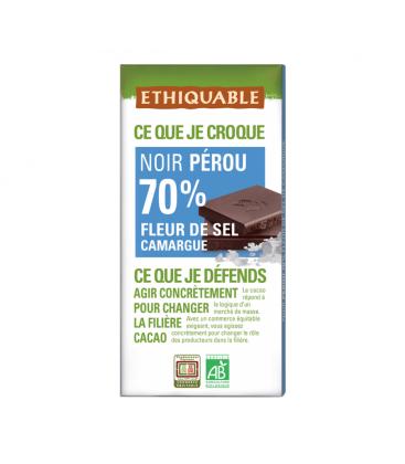 ETHIQUABLE Chocolat Noir 70% Fleur de Sel Camargue/Pérou bio & équitable