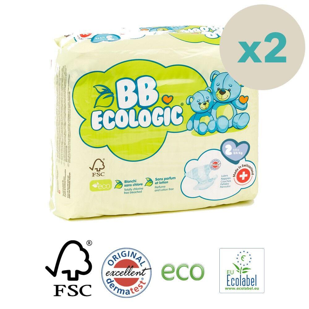 Popi-shop BB ECOLOGIC couches écologiques t2 mini (3-6kg) - pack 2 sachets...