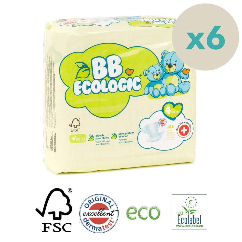 Popi-shop BB ECOLOGIC couches écologiques t4 maxi (7-18kg) - pack 6 sachets...