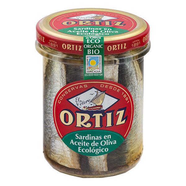 Les Délices De Sarah Sardines a l'huile d'olive bio bocal verre 190g ORTIZ