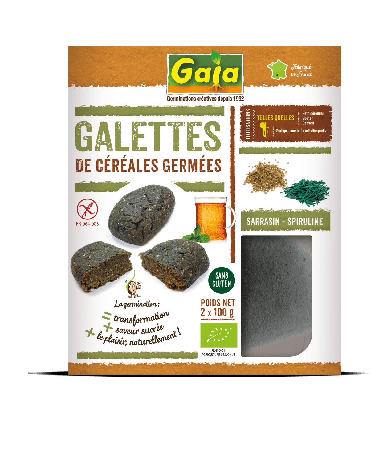 Gaia Galettes de céréales germées sarrasin/spiruline 2x100g
