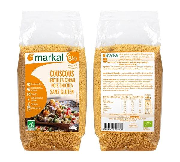 MARKAL Couscous Lentilles corail - pois chiches - sans gluten, 400 g