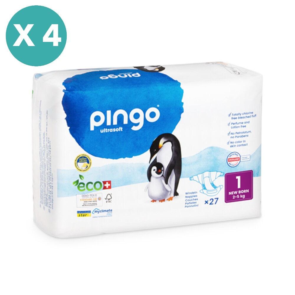 Popi-shop PINGO couches écologiques jetables t1 (2-5 kg) - pack x 4 sachets...