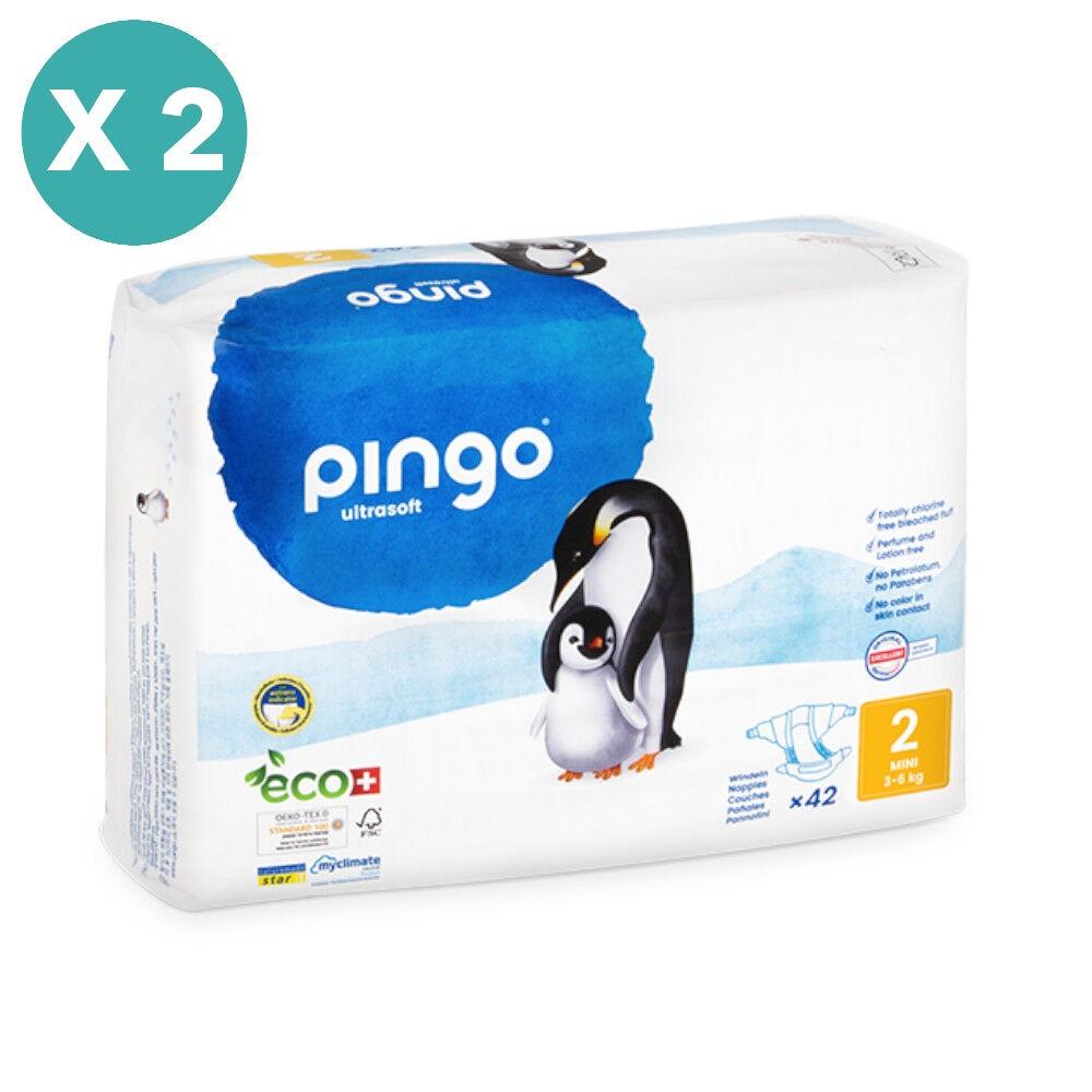 Popi-shop PINGO couches écologiques jetables t2 (3-6 kg) - pack x 2 sachets...