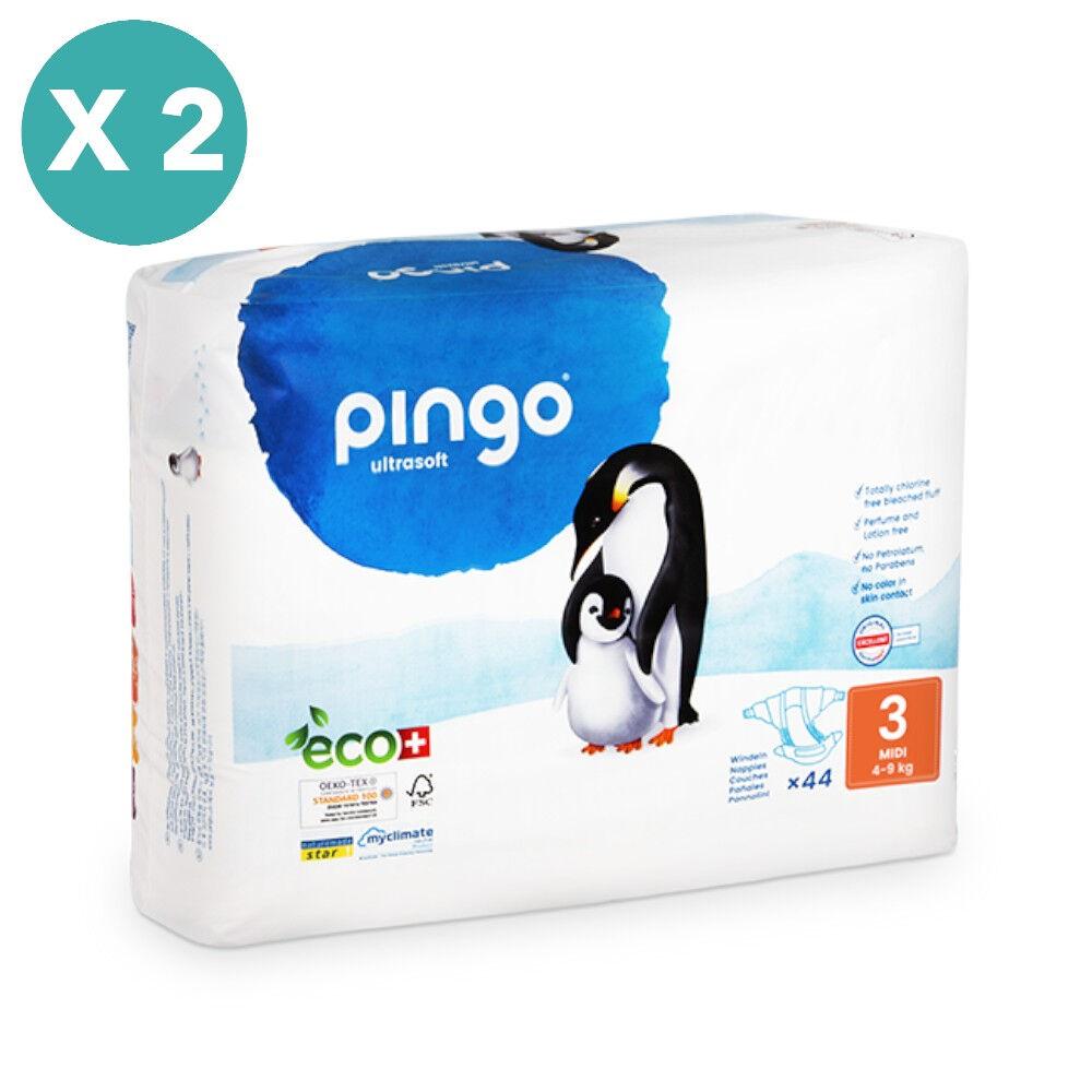 Popi-shop PINGO couches écologiques jetables t3 (4-9 kg) - pack x 2 sachets...