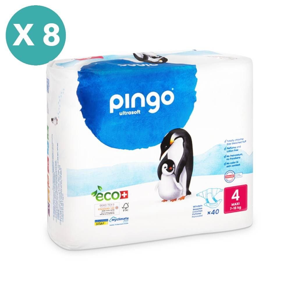 Popi-shop PINGO couches écologiques jetables t4 (9-18 kg) - pack 8 sachets...