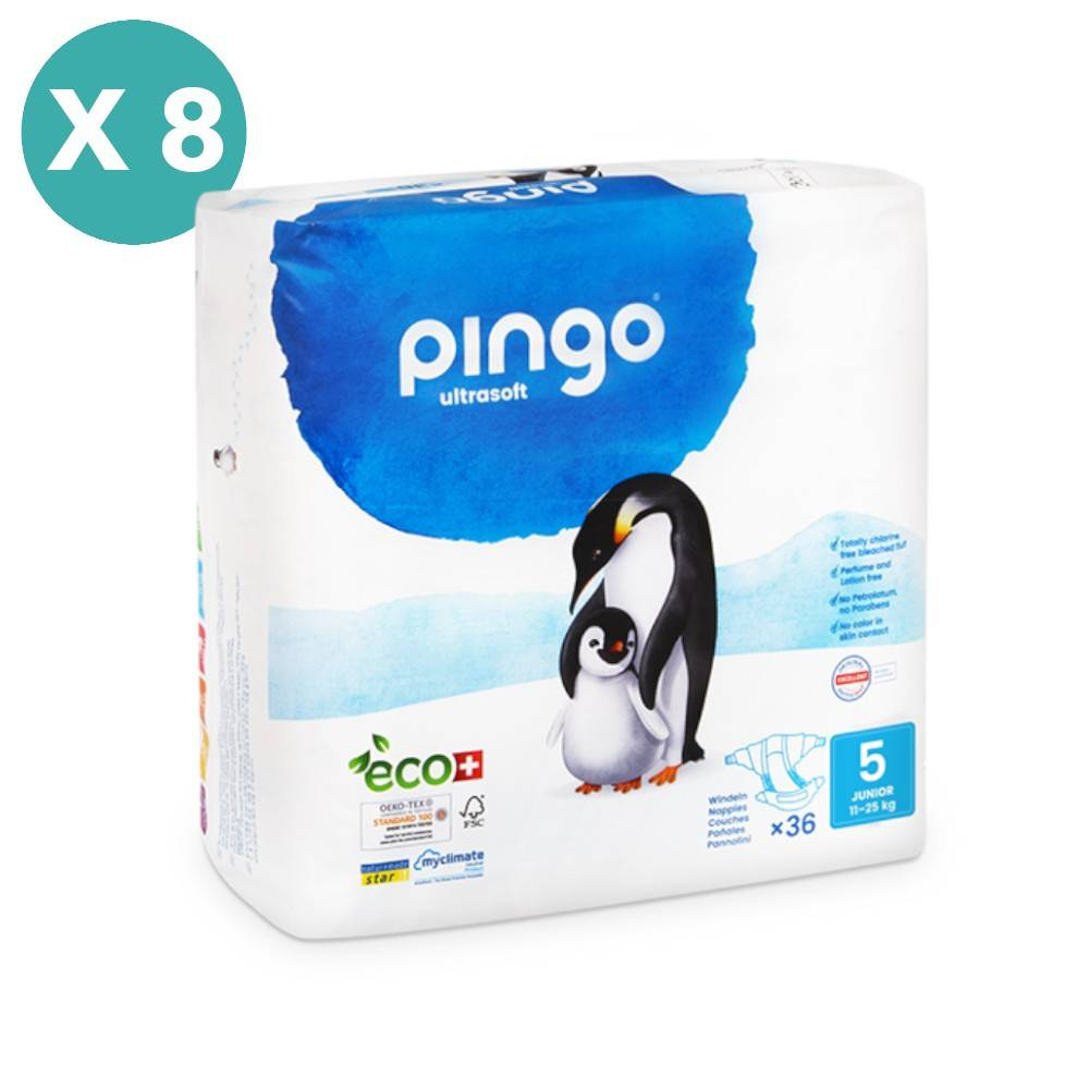 Popi-shop PINGO couches écologiques jetables t5 (11-25 kg) - pack 8 sachets...