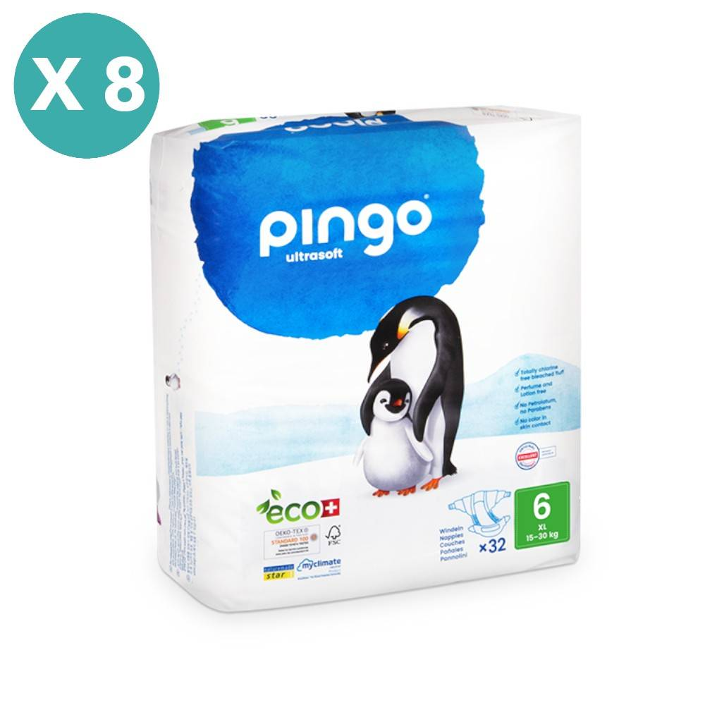 Popi-shop PINGO couches écologiques jetables t6 (16-30 kg) - pack 8 sachets...
