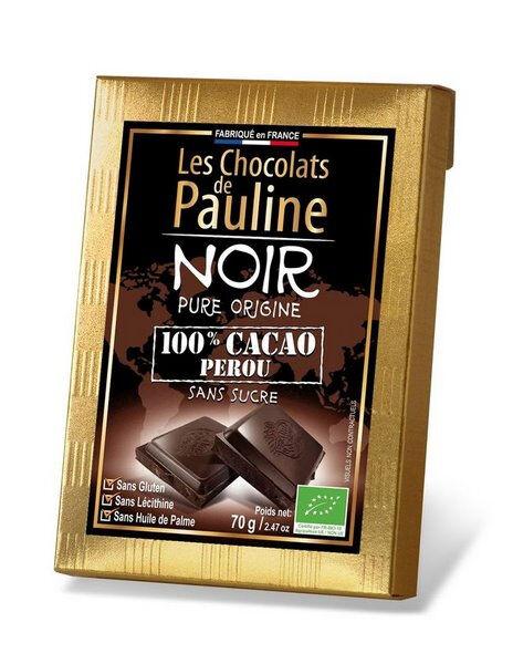 Sana Vita Tablette de chocolat noir 100% de cacao.  , 70 g